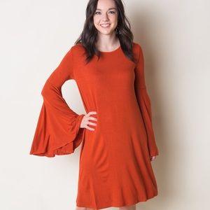 Bell Sleeve Dress (Pumpkin Spice)